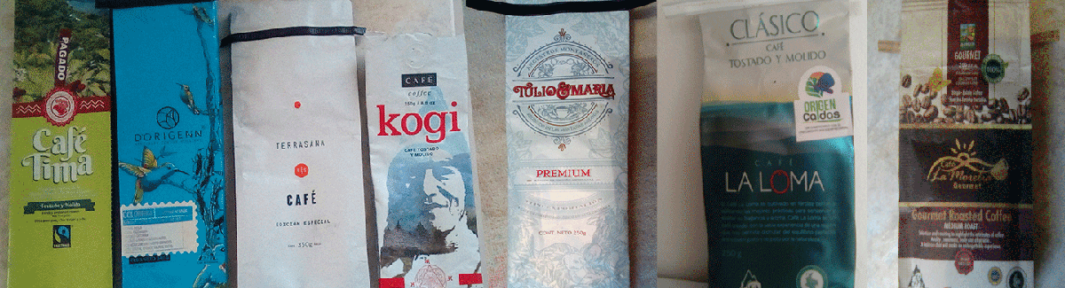 Some packages of Colombian coffees.